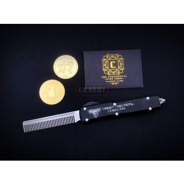 MF TTI Style CNC Stainless Steel Portable Pocket Telescopic Comb Hair with John Wick Coin Set ( JW Style )