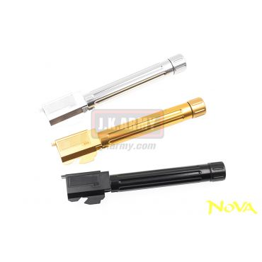 Nova BK-List Style CNC Aluminum Threaded 14mm CW Outer Barrel Fluted for Marui Model 17 / 18C / 22 GBB Pistol