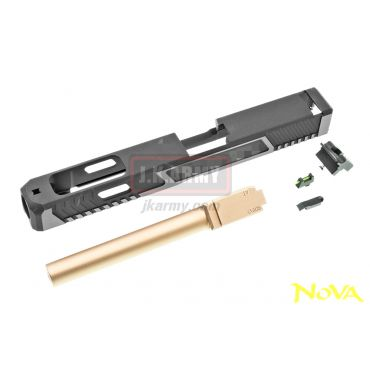 Nova T-Style G34 Aluminum Slide & Copper Barrel for Marui Arisoft G17 / 34 GBB Series - Black