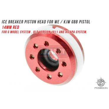 Poseidon ICE Breaker Piston Head 14mm Red for WE / KJW GBB Pistol