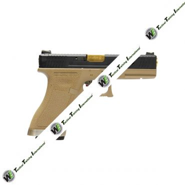 WE G18C T6 Black Metal Slide Gold Barrel GBB Pistol ( Tan )