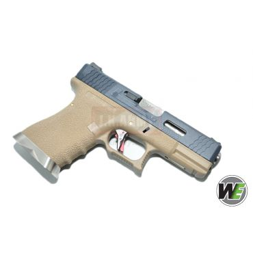 WE G19 Pistol Airsoft T2 ( BK SLIDE / SV BARREL / TAN FRAME ) (Airsoft)
