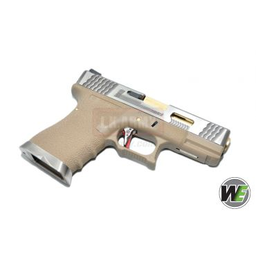 WE Custom Model 1.9 Pistol Airsoft T4 ( SV SLIDE / GD BARREL / TAN FRAME )