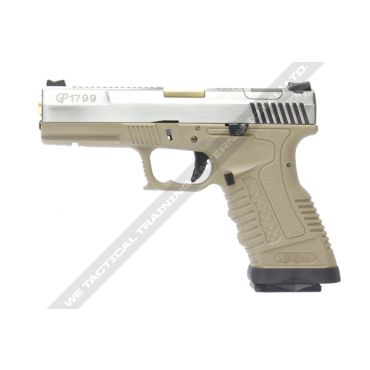 WE GP1799 T4 Silver Metal Slide Gold Barrel GBB Pistol ( Tan )