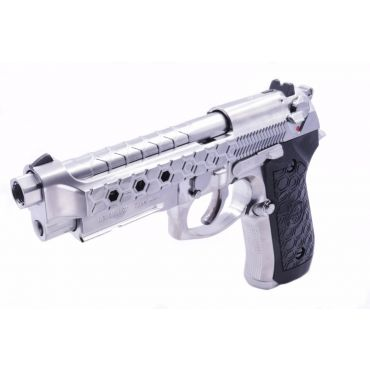 WE M9A1 Hex Cut GBB Airsoft Pistol Silver