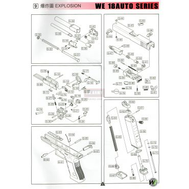 WE Model 18C Auto Series GBB Pistol Airsoft Explosion Parts 爆炸圖