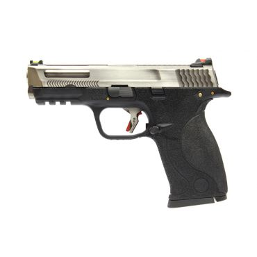 WE BB FORCE T6 B Silver Stealth Metal Slide Silver Barrel GBB Pistol ( BK )