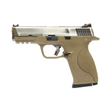 WE BB FORCE T7 A Silver Metal Slide Gold Barrel GBB Pistol ( Tan )