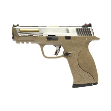 WE BB FORCE T7 B Silver Stealth Metal Slide Gold Barrel GBB Pistol ( Tan )