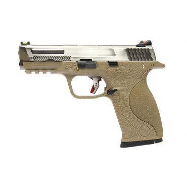 WE BB FORCE T8 B Silver Stealth Metal Slide Silver Barrel GBB Pistol ( Tan )