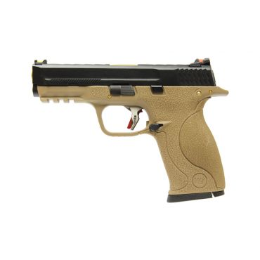WE Toucan T3 A W/HOLD Pistol Airsoft ( BK SLIDE / GD BARREL / TAN FRAME )