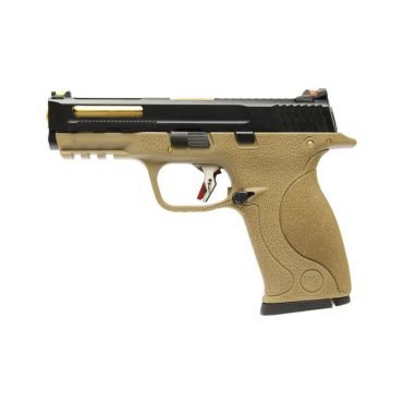 WE Toucan T3 B W/HOLD Pistol Airsoft ( BK SLIDE / GD BARREL / TAN FRAME )