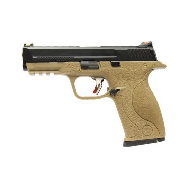 WE Toucan T4 A W/HOLD Pistol Airsoft ( BK SLIDE / SV BARREL / TAN FRAME )